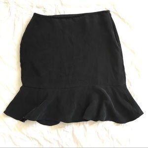 Ann Taylor Black Silk Skirt Ruffle Hem Lined Sz6P